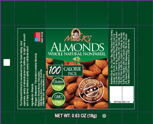 Almonds, Whole Natural (.63oz Snack Packs, 500 ct/cs) Stanislaus