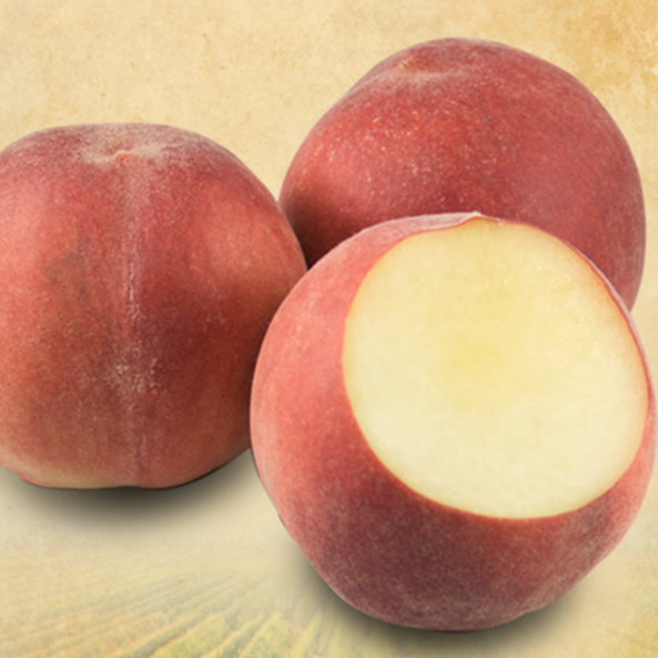 Peaches, White/Yellow (120 ct/cs, VF 80, 1/2 cup, Tulare County, 25lbs)